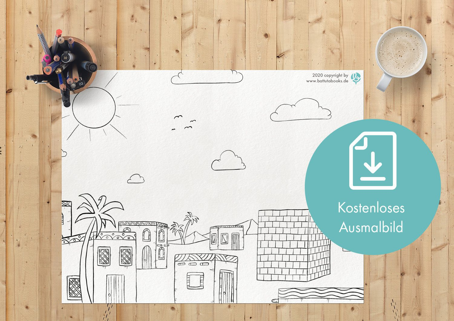Free Islamic coloring picture from battutabooks